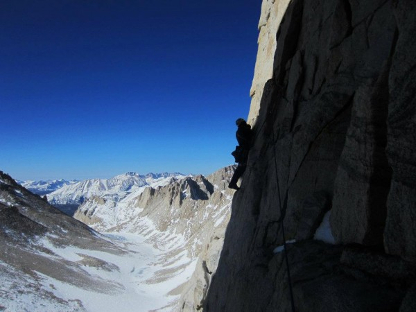 The leftward traverse on the first pitch.