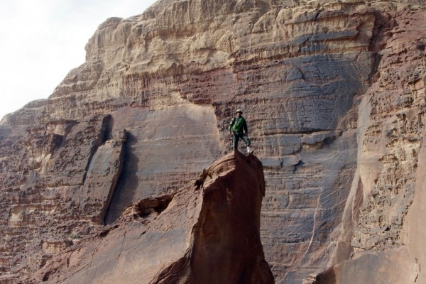 Scrambling on Jebel Khazali, Wadi Rum, Jordan