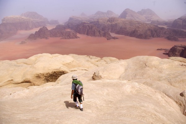 Starting the descent off the summit of Jebel Khazali, Wadi Rum, Jordan