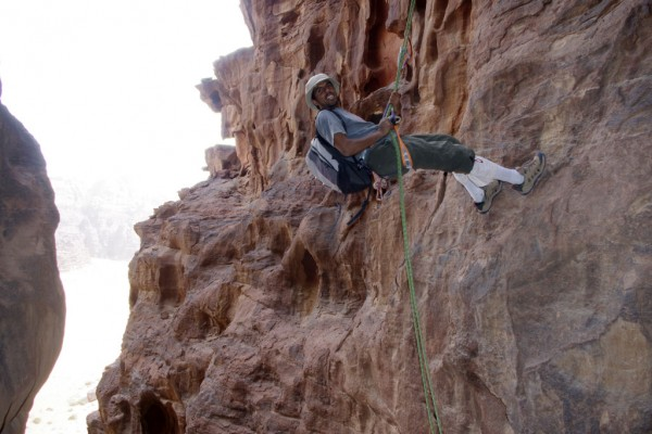 The last of 5 rappels to descend off Jebel Khazali, Wadi Rum, Jordan 