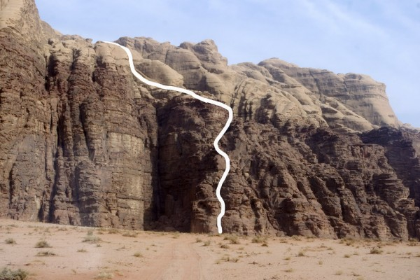 The lower half of the climbing rouote, Wadi Rum, Jordan