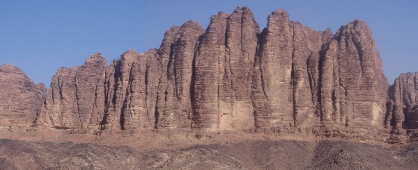 The big wall of the SE face of Jebel Al Qattar, Wadi Rum, Jordan