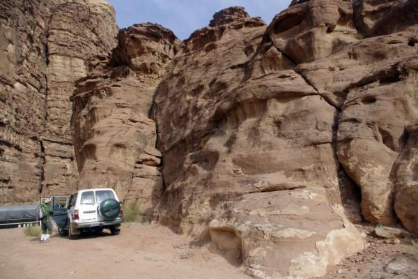 Start of Sabbah's Route on Jebel Khazali, Wadi Rum, Jordan
