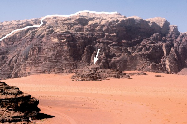 The upper section of Sabbah's Route on Jebel Khazali, Wadi Rum, Jordan