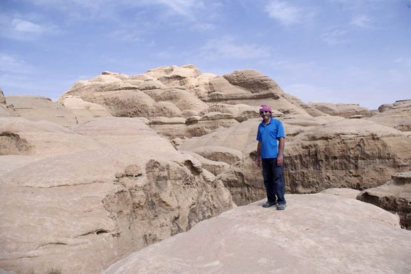 Domes of white Rum sandstone on the summit plateau of Jebel Khazali. W...