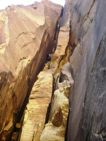 Looking up the first chimney pitch.