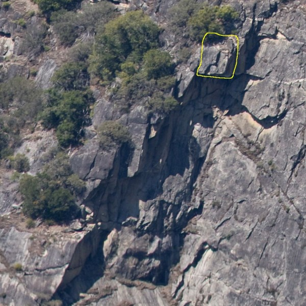 Church Bowl 4/2012 rockfall source area, shot prior to rockfall <br/> from...