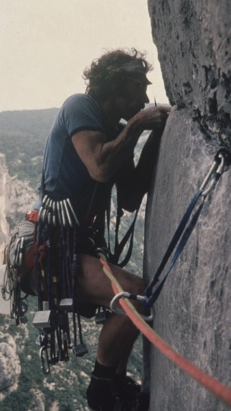 Dennis on the traverse of Eperon Sublime, it's the 70s; headband -chec...