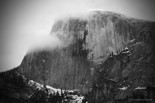 Half Dome viewed from base of Washington Column.