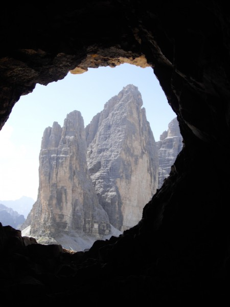 Looking back through an embrasure to Tre Cime