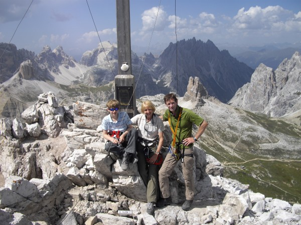 We three on the summit.  The acclaimed Austrian climber Sepp Innerkofl...