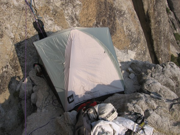 1st bivy ledge on Lost Arrow Direct