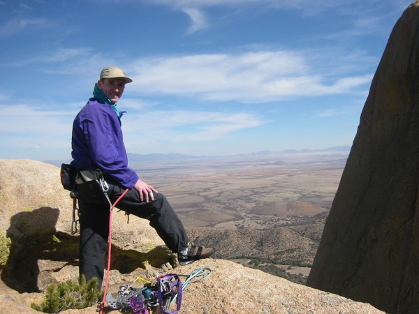 Loz Owen on the top of one of the Rockfellow pinnacles. We had just fi...
