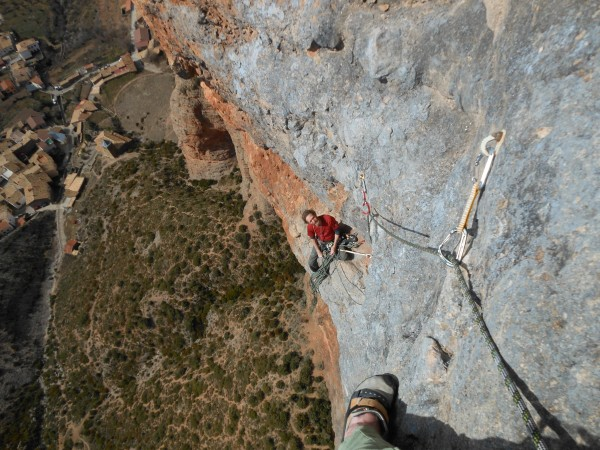 Looking back down to the penultimate belay on mosquitos,.At this point...