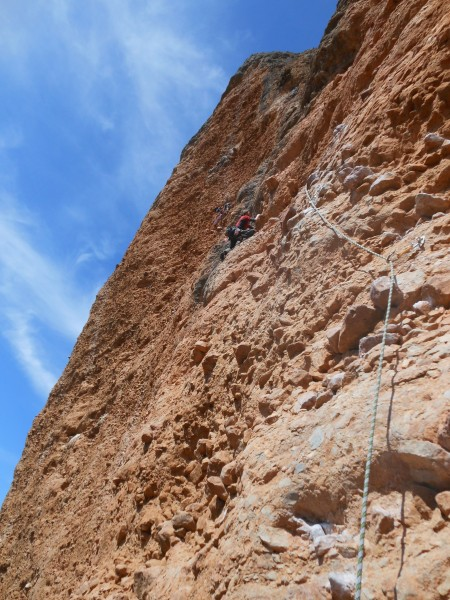 Bob engaged on the crux pitch of Mosquitos. This goes off a large boul...