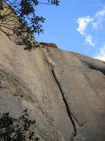 Courtney heading towards the belay