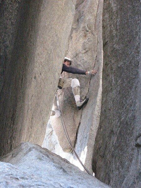 starting the chimney behind El Cap Spire, Salathe' Wall