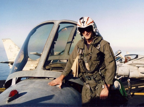 Sierra Ledge Rat on his combat jet on the deck of the aircraft carrier...
