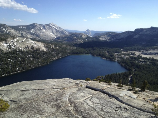 Looking over Tenaya Lake at Half Dome from the top of Stately Pleasure...