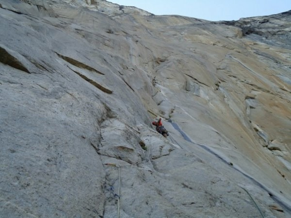 Near the end of pitch 3 after injuring my knee.