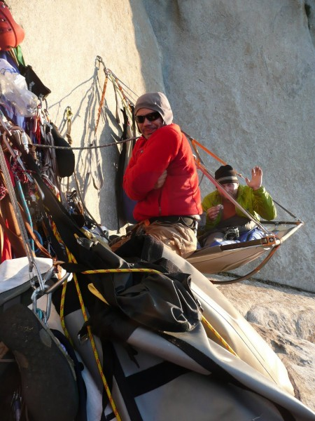 Last bivy of the route, 7th day on the wall.  The sheer intensity of t...