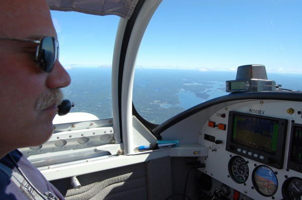 Pilot, plane's builder & friend Jeff V @ 6000ft some where over NY.