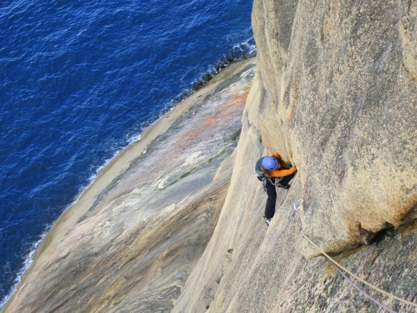 P2 of Arocknaphobia, Flowstone Wall, Freycinet, Tasmania.
