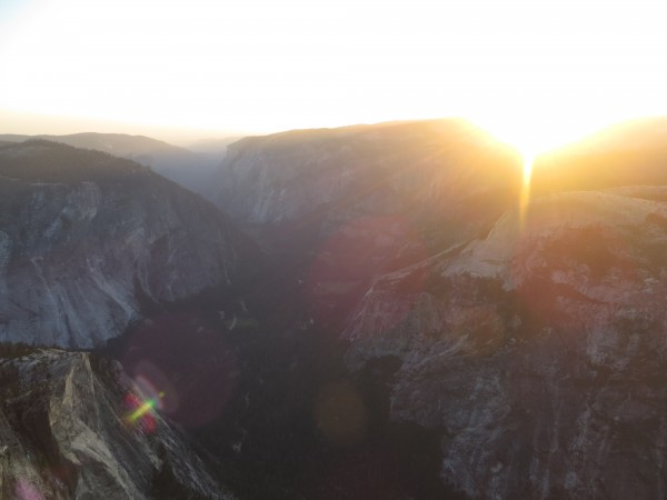 The sun rising over Yosemite Valley.