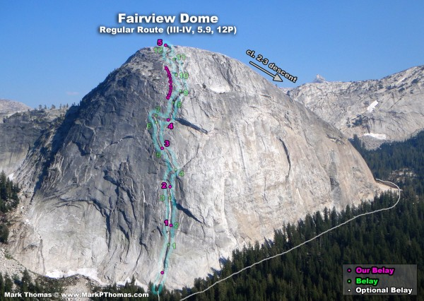 Fairview Dome RR, how we climbed it in 5 pitches with 70m double ropes...
