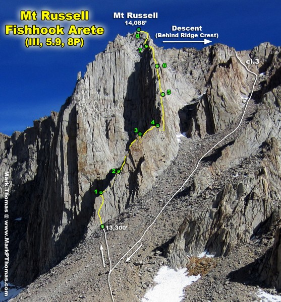 Mt Russell's Fishhook Arete seen on the approach. The last 2 pitches t...