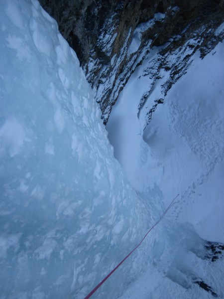 Uppermost pitch on The Professor Falls - with rope stretch, a single 6...