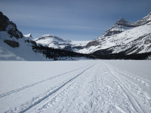 Crossing Bow Lake to get to Bow Falls - 4/9/12