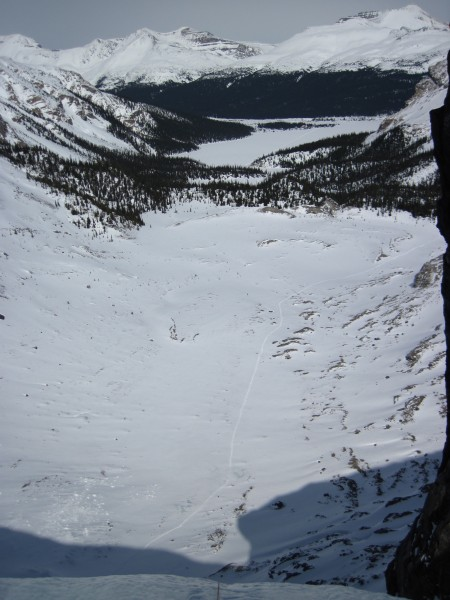 Tracks in the snow with Bow Lake in the distance - 4/9/12