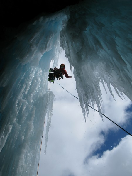 My turn - hanging around on rappel outside and above the ice cave on L...