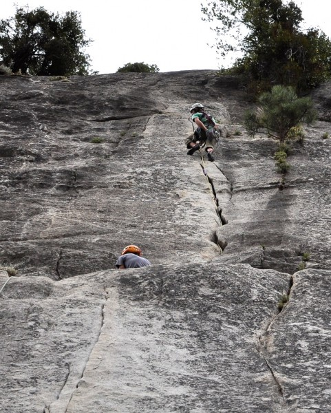 The kid leading the second pitch of Jam Crack
