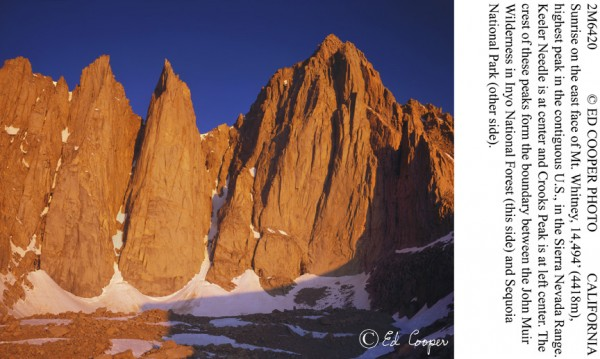 Sunrise on E Face Mt Whitney, CA.