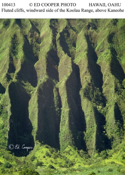 Fluted cliffs, Koolau Range, HI.