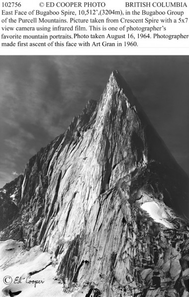 Bugaboo Spire with caption, BC.
