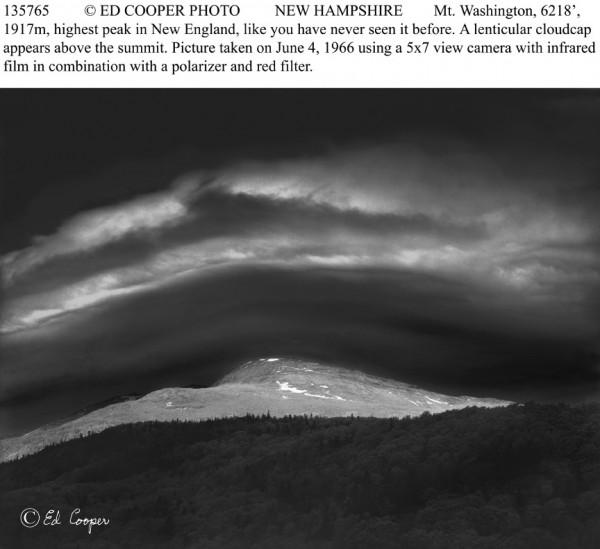 Mt Washington & lenticular cloudcap, BW, NH
