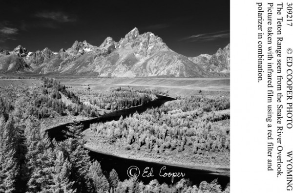 Tetons, Snake R.,infrared, BW, WY