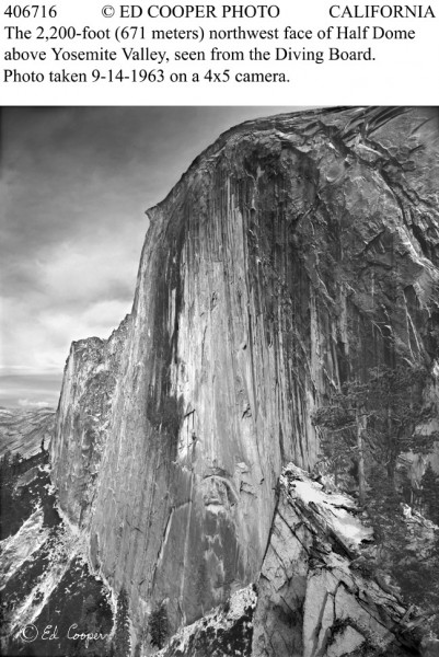 Half Dome from Diving Board, Yosemite Valley, CA, B&W, remake