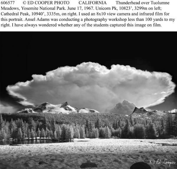 Thunderhead over Tuolumne Meadows, CA, BW