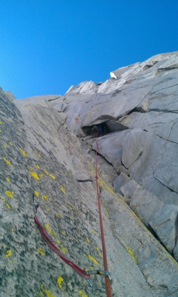 Belay from the alcove.