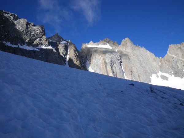 Tromping up the Palisade Glacier to the U-Notch