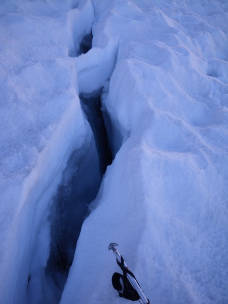 Small crevasses on the Palisade Glacier