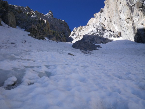 In the U-Notch, near the beginning of the ice (gray and aerated here)