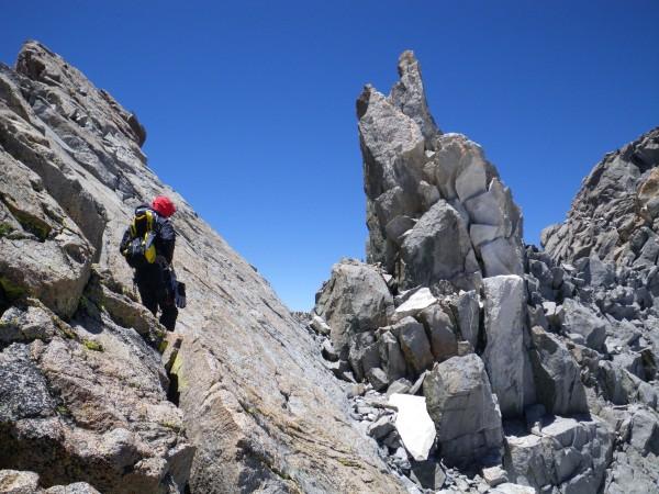 Rob scrambling along the ridge towards North Palisade