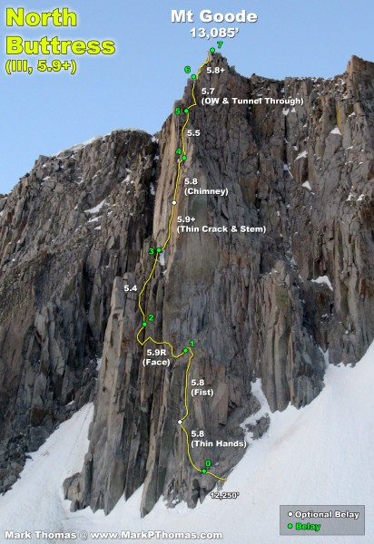 2012-06-16 - North Buttress of Goode as we reached the permanent snowf...