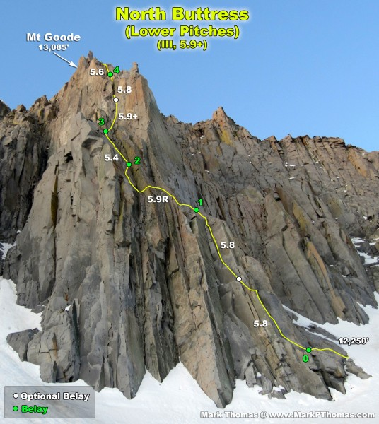 2012-06-16 - North Buttress of Goode just before sunrise.Pitches are a...