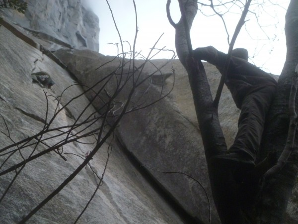 Jahil climbs as the water begins to flow and Mittens shouts encouragem...